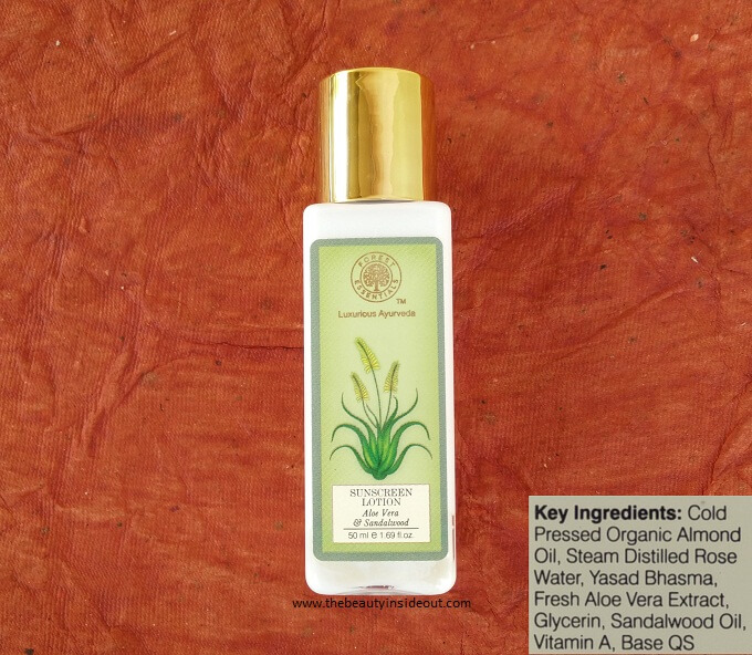 Forest Essentials Sunscreen Lotion Aloe Vera & Sandalwood