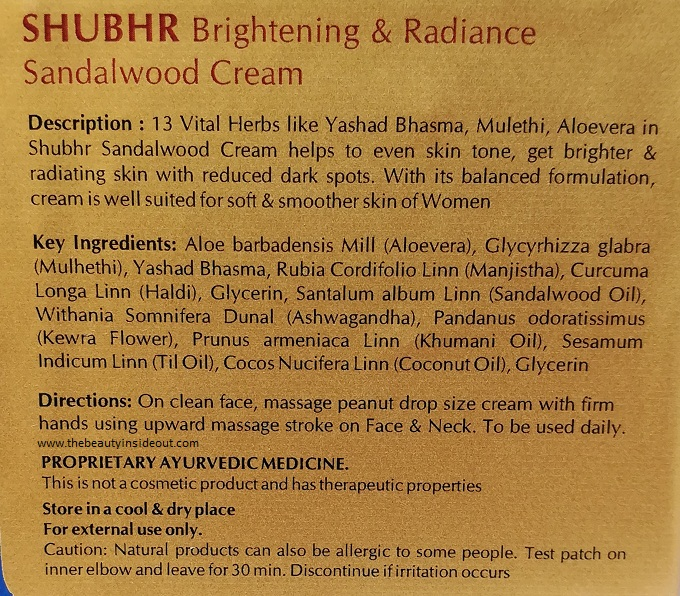 Blue Nectar Brightening & Radiance Sandalwood Cream Ingredients & Product Description