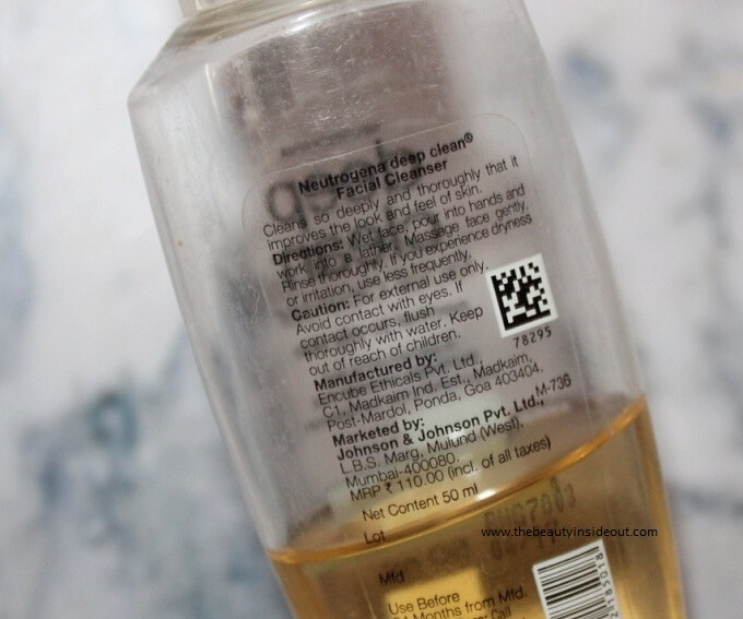Neutrogena Deep Clean Facial Cleanser Product Details