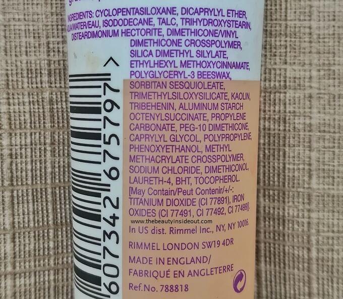 Rimmel Stay Matte Liquid Mousse Foundation Ingredients