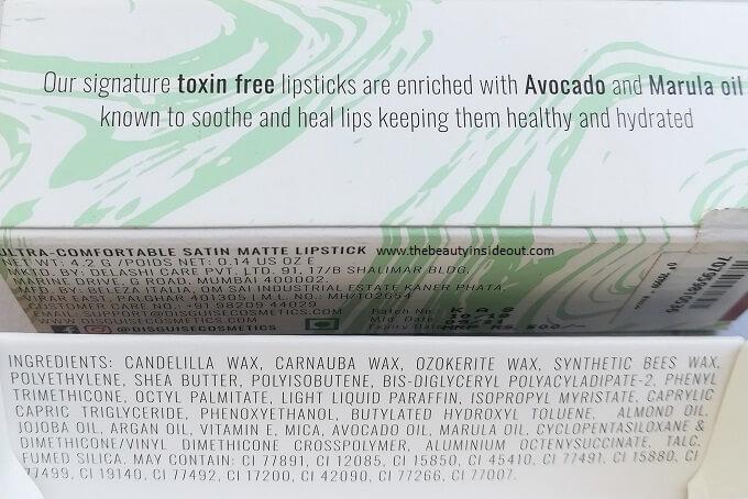 Disguise Cosmetics Lipstick Ingredients