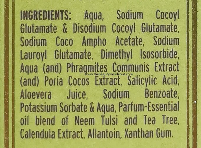 Kama Ayurveda Anti Acne Cleansing Foam Ingredients