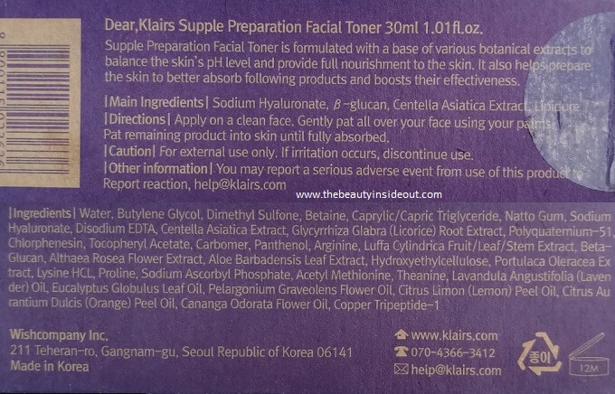 Klairs Supple Preparation Facial Toner Ingredients