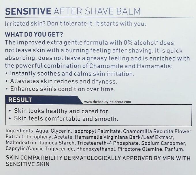 Nivea After Shave Balm Sensitive Ingredients