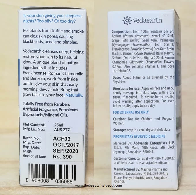 Vedaearth Cleansing Facial Oil Ingredients