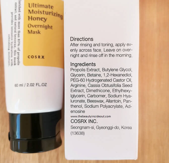 Cosrx Ultimate Moisturizing Honey Overnight Mask Ingredients