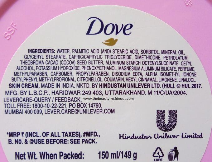 Dove Deep Moisturisation Cream Ingredients