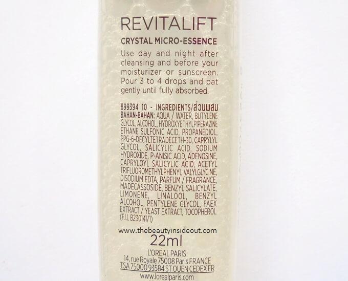 L'Oreal Paris Revitalift Crystal Micro Essence Ingredients