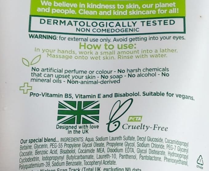 Simple Moisturizing Facial Wash Ingredients