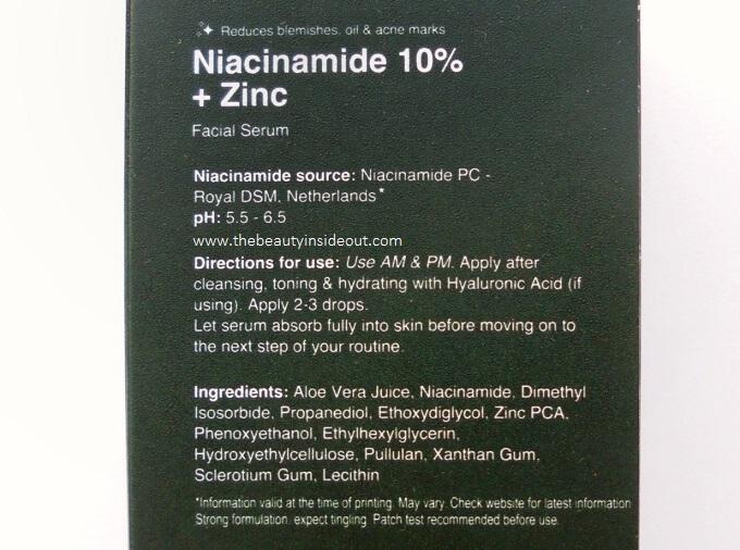 Minimalist Niacinamide 10 + Zinc Ingredients