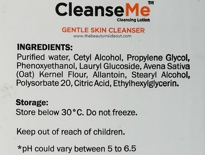 CleanseMe Cleanser Ingredients