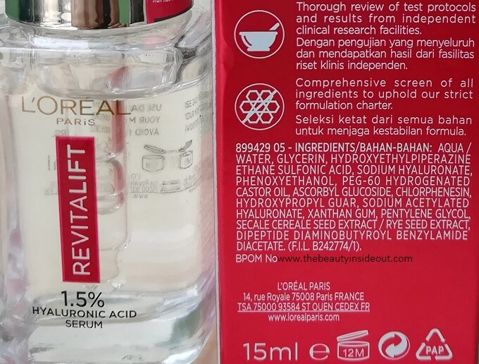 L'Oreal Paris Revitalift Hyaluronic Acid Serum Ingredients