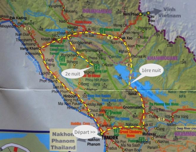 Itinéraire au départ de Thakek, Laos