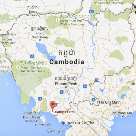 Map of Cambodia showing the Sothy's Pepper Farm