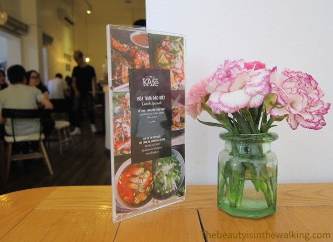 Flowers and menu at The Kafe, Hanoi