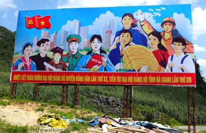 Panneau de propagande communiste
