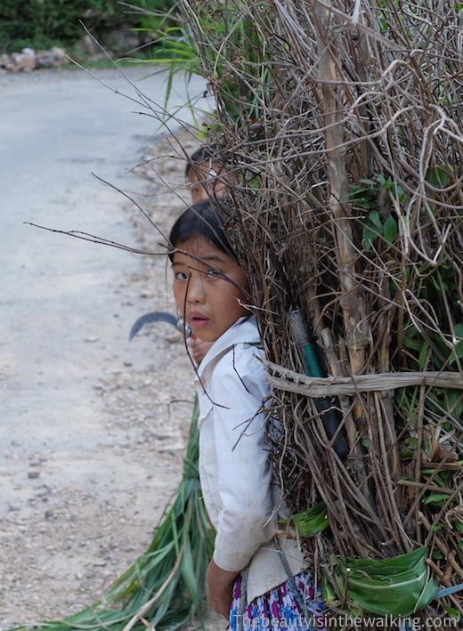 Une fille transportant du bois