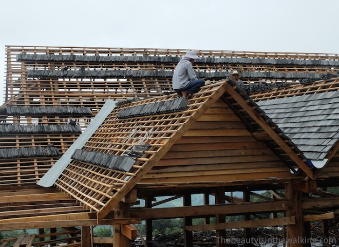 Roof in progress in Jing Mai Village