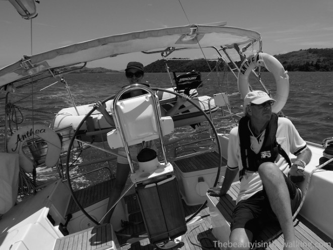 At the helm of the sailing boat - Whitsunday Islands