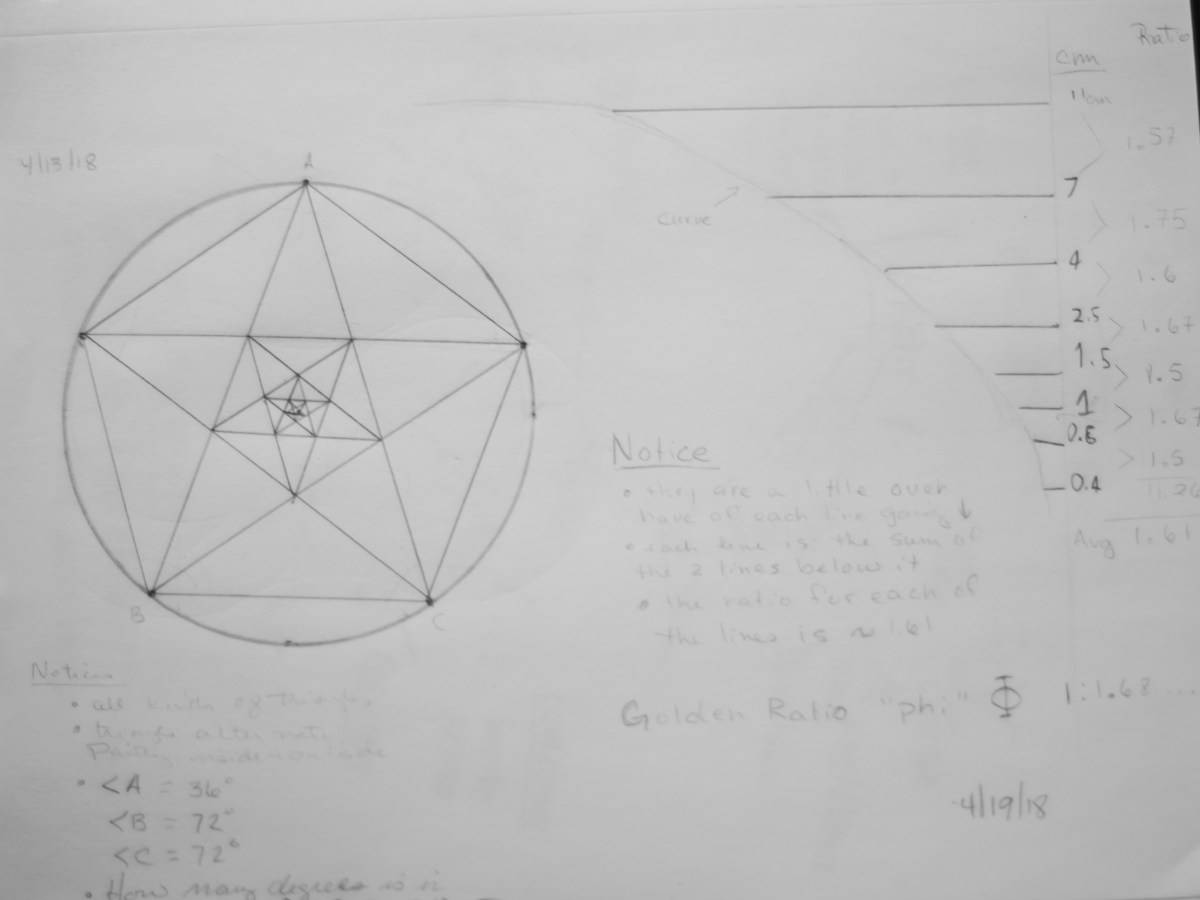 Study of the ratio of lengths of side of series of nesting pentagrams