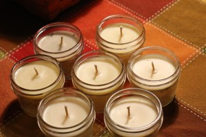Several Beeswax candles in a mason jar