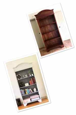 Image shows before and after photos of the bookcase. Shabby Chic.