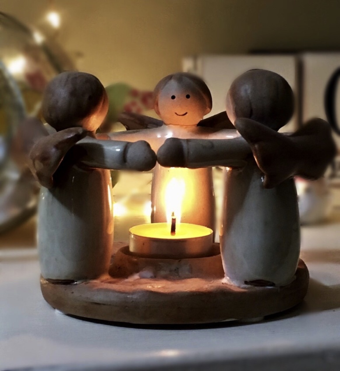 3 angel tea light holder. Cosy up for Autumn