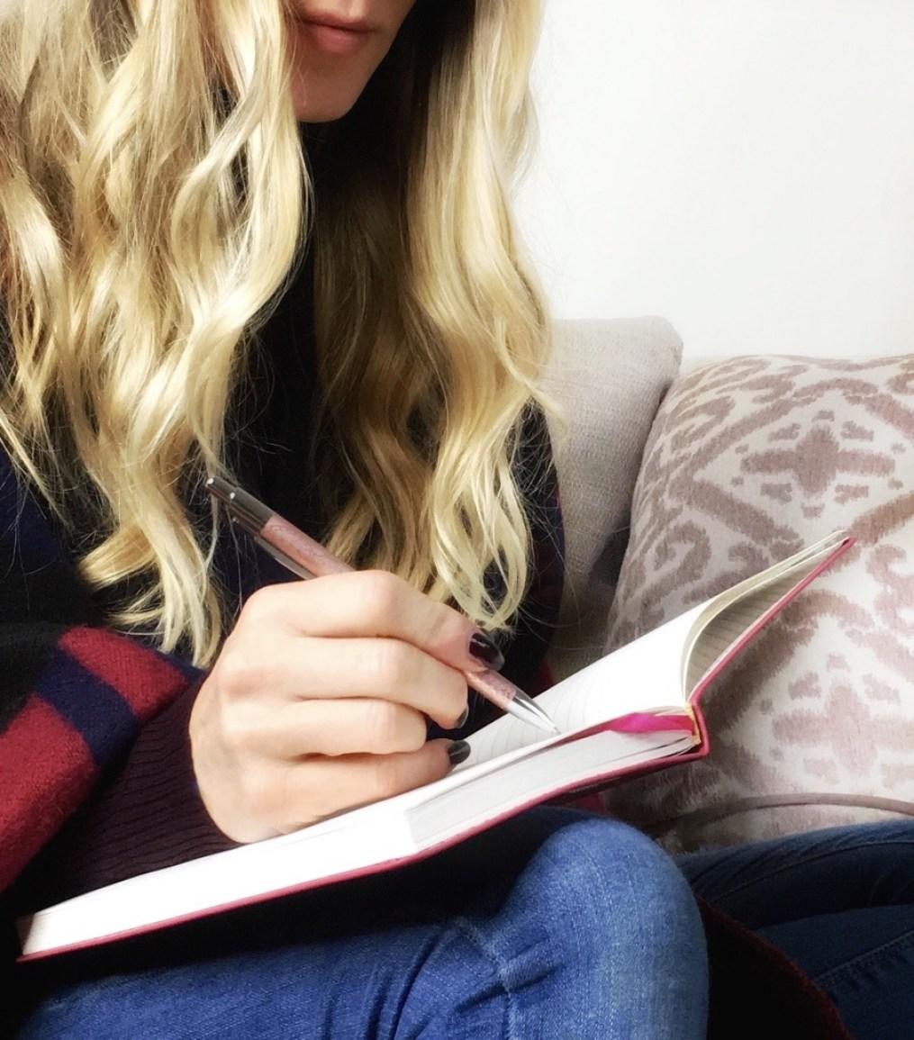 Samantha writing her Christmas list
