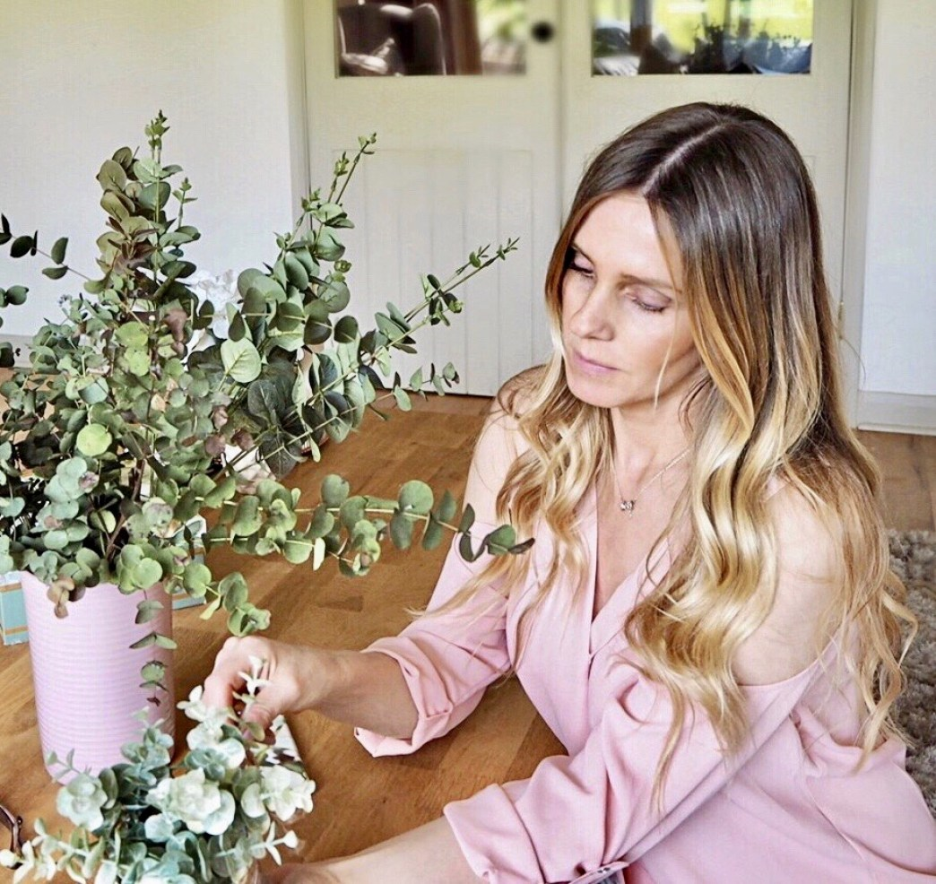 Samantha with her Eucalyptus vase. spring home trend