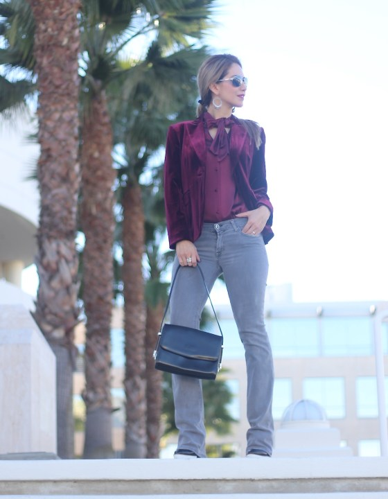 BURGUNDY LOVE // TIE-NECK BLOUSE & VELVET JACKET
