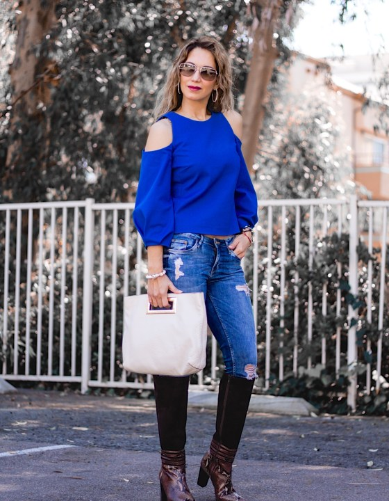 TRANSITION INTO SPRING // COLD SHOULDER BLOUSE