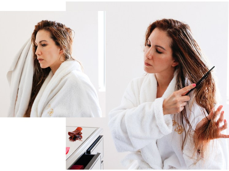 woman applying a hair treatment