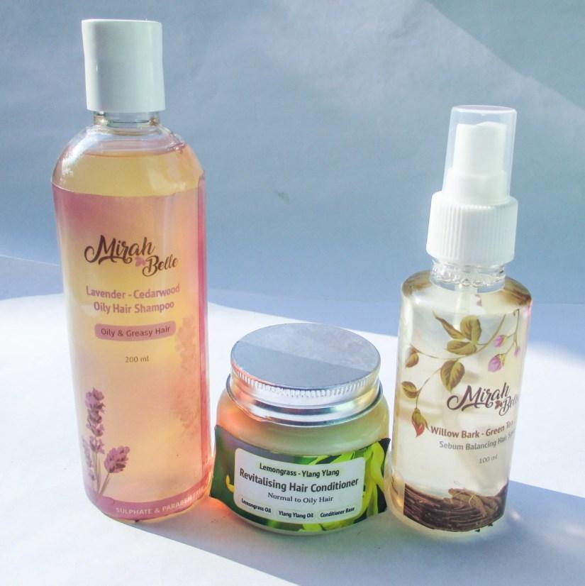 Mirah Belle Lavender Shampoo, Lemongrass Conditioner, Sebum Hairspray