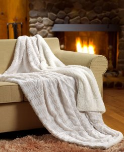 blanket by fireplace