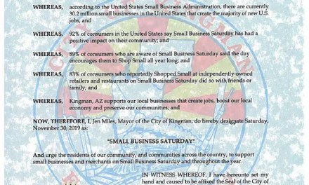 Proclamation in support of Small Business Saturday, November 30, 2019
