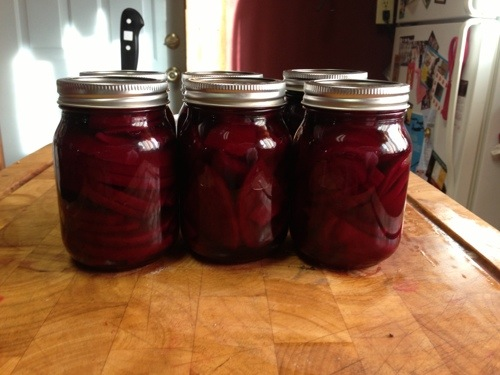 Pickled beets by me. The fruits of my labor. YUM!