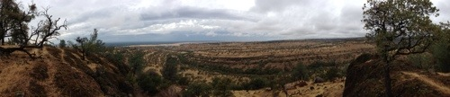 Clouds over a canyon. panoramic
