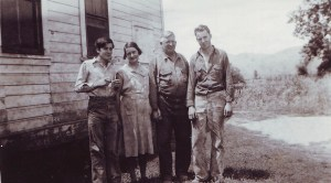 My Great Uncle Sam, my Great Aunt Ella, my great grandpa (who built the table) Sam, and my Grandpa Fletcher.