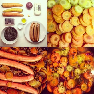 Sausages, Carrots & Lentils One-Pot - The Beginner's CookBook recipe