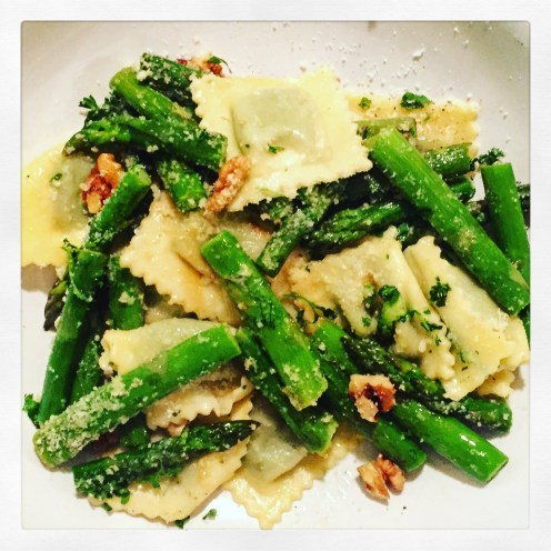 Ravioli with Sautéed Asparagus, Walnuts & Lemon Butter Sauce - The Beginner's Cookbook Recipe