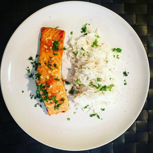 Honey Mustard Baked Salmon with Rice - The Beginner's Cookbook
