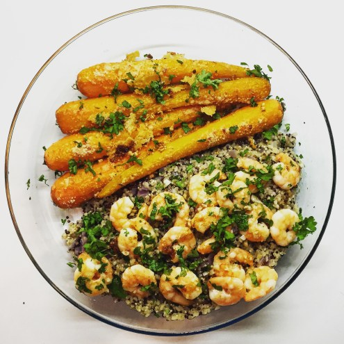 Garlic Shrimps with Quinoa and Roasted Carrots - The Beginner's Cookbook Recipe