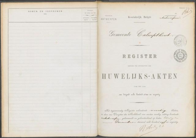 Kalmthout, Belgium. Register bestemt ter Inschrijving der Huwelijks-Akten voor het Jaar Een Duizend Acht Honderd Zes en Negentig.
