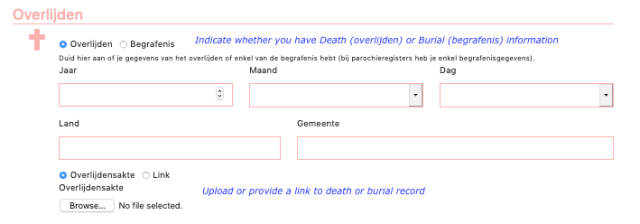 Image of webscreen with boxes where you enter death or burial information.