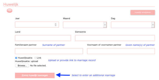 Image of webscreen with boxes where you enter marriage information.