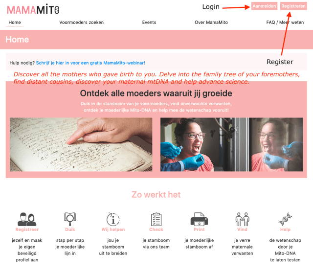 "Welcome screen of the MamaMito project. ""Discover all the mothers who gave birth to you. Delve into the family tree of your foremothers, find distant cousins, discover your maternal mtDNA and help advance science."