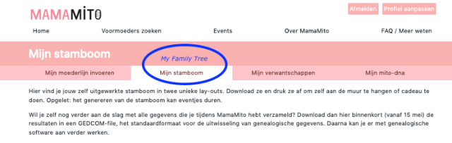"Image of web screen that appears once participants are logged on. The tab ""My Family Tree"" is highlighted in blue."