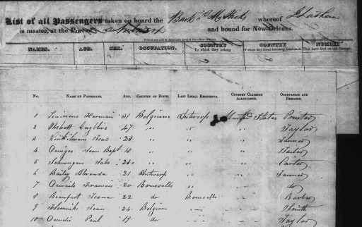 Black and white ship manifest with columns: Name of passenger, Age, Country of Birth, Last Legal Residence, Country Claiming Allegiance, Occupation and Remarks. The first ten lines are shown. They are all from Belgium.