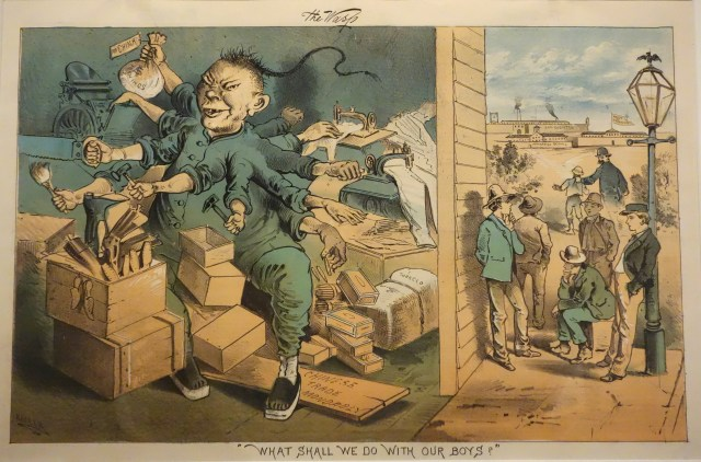 "Colored lithograph. The frame is divided, two-third occupied and dominated by an eleven-handed Chinese worker-monster. This is juxtaposed with the image on the right of clean shaven, non-threatening white boys, ""our boys"" who are deprived of the possibility to obtain honest work."