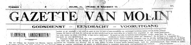 The masthead reads:  GAZETTE VAN MOLINE GODSDIENST -- EENDRACHT -- VOORUITGANG